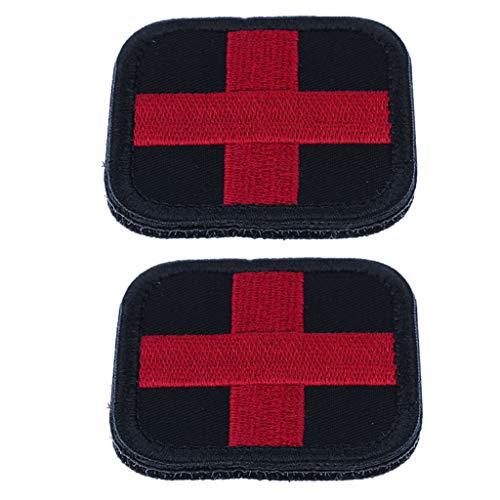 P Prettyia 2 Stück Erste Hilfe Rotes Kreuz Patches Aufkleber Klettverschluss Applikation für Wandern, Camping, Reisen, Jagen, Angeln