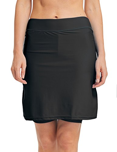 LAUSONS Damen Bikini Hose mit Rock Hoher Taille Strandrock Schwimm Baderock lang Schwarz DE 42-44 / Etikettes L