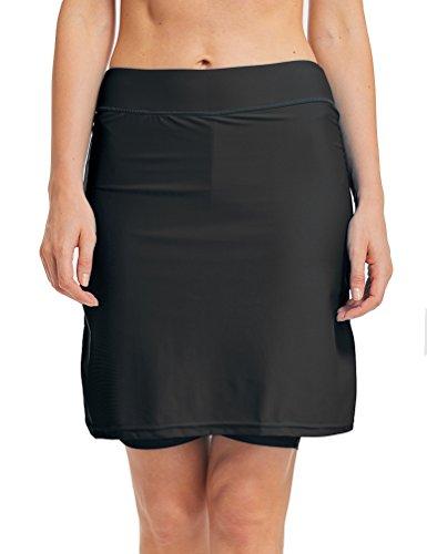 LAUSONS Damen Bikini Hose mit Rock Hoher Taille Strandrock Schwimm Baderock lang Schwarz DE 38-40 / Etikettes M