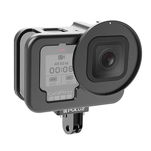 Cubierta de cámara LJR para GOPRO Hero9 Black Housing Withing Shell CNC Aleación de Aluminio Jaula Protectora con Marco de Seguro y Lente UV de 52 mm (Color : Negro)