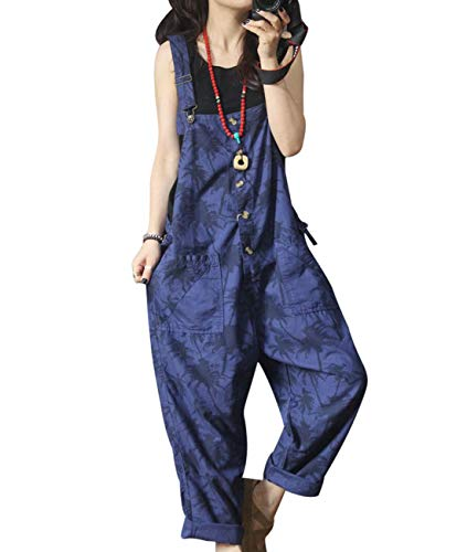 YESNO Women Casual Loose Button up Cropped Jeans Floral Strap Overalls Jumpsuits for Summer/Pockets PM3