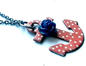 Sailor Jerry Necklace Painted Dot Anchor Rockabilly Nautical Handmade Gift