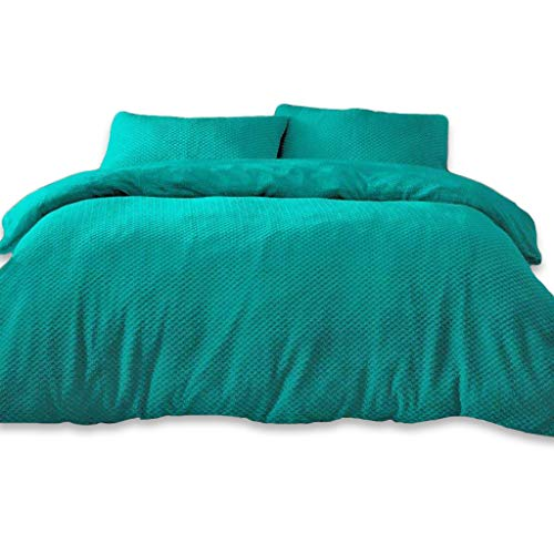 Duvet Cover Set 3PCS Printed Bedding Set, Ultra Soft Popcorn Pattern Quilt Cover Set with Concealed Zipper and Pillowcases (Teal, Single)
