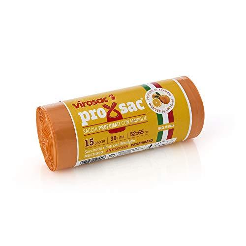 VIROSAC - Rollo de 15 Bolsas de Basura perfumadas, Fragancia a la Naranja, de Nailon, Color Naranja, 52 x 0,1 x 65 cm