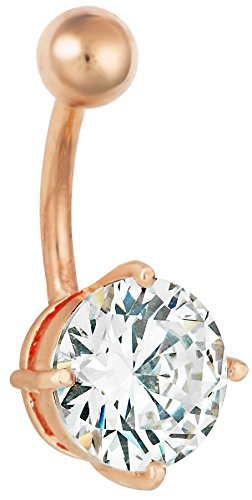 14g Surgical Steel Rose Gold IP Plated 3.87 cttw CZ Crystal Solitaire Belly Button Ring