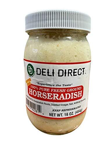 Deli Direct Extra Hot 100% Pure Fresh Ground Horseradish, 16 oz, 3 count