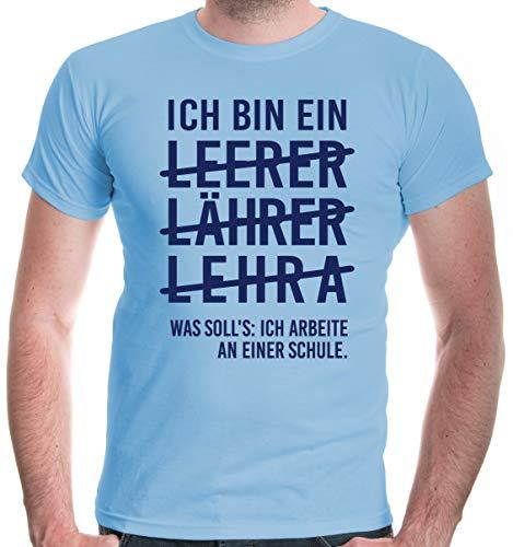 buXsbaum® Herren T-Shirt Ich Bin EIN Lehrer | Sprüche | S, Blau