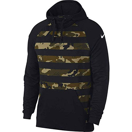 Nike Men's Pullover Camo Hoodie Sweatshirt Black Green (L)