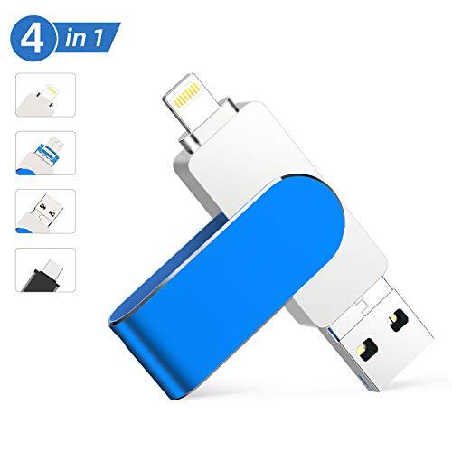 Memoria USB para iPhone 128 GB ,Qarunt 4 en 1 USB 3.0 OTG Pendrive Memory Stick Externa para Tipo C USB C iPad Android Laptops Smartphone Macbook iOS