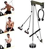 VWMYQ 3 in 1 Home Wall-Mounted Pulley System, with Heavy Duty Tricep Rope, Non-Slip Pull Down Handles, LAT Pull Bar, Forearm Wrist Chest Trainer