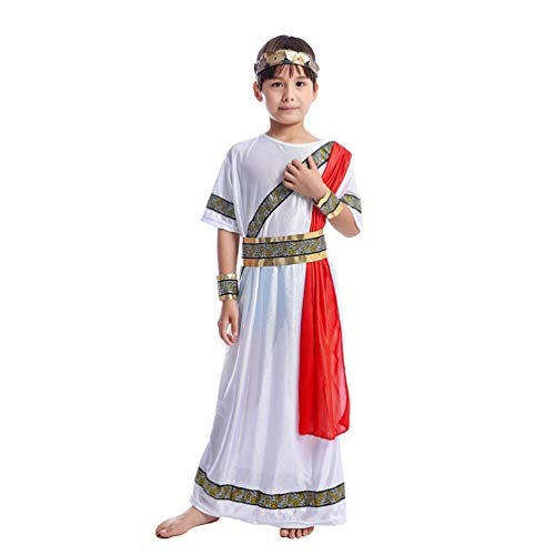 STOBOK Ragazzi Costume Romano Abito Cesare Storico Vestito Bambini Imperatore Cosplay Basic Toga Costume Bambino Taglia L