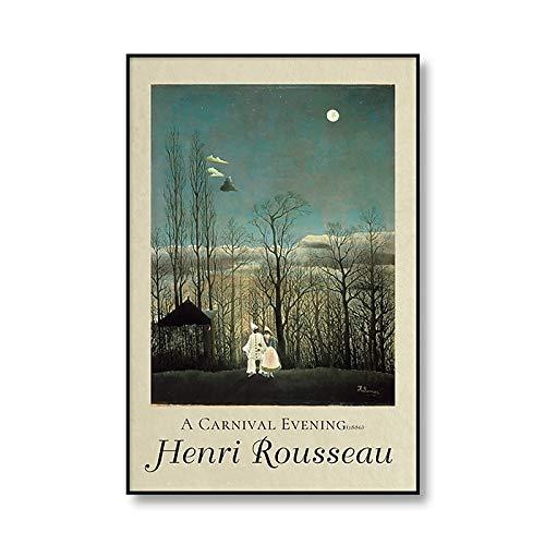 Cartel de la exposición'Encantador de serpientes' del famoso Henri Rousseau y lienzo impreso cuadro de lienzo sin marco A3 60x90cm