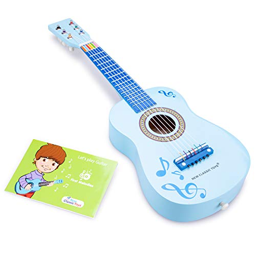 New Classic Toys Guitar-Blue with Music Notes, Colore, Blu con Note Musicali, 10349