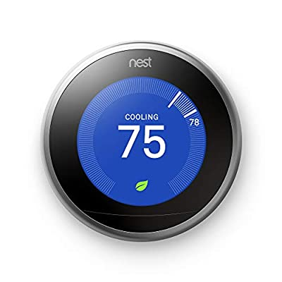 Google, T3007ES, Nest Learning Thermostat, 3rd Gen, Smart Thermostat, Stainless Steel, Works With Alexa by GOJDS