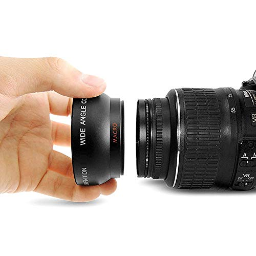 Andoer HD 52MM 0.45x Objectif Grand Angle avec Objectif Macro pour Canon Nikon Sony Pentax 52MM DSLR...
