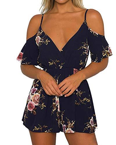YOINS YOINS Jumpsuit Damen Kurz Sexy Overall Einteiler Schulterfrei für Damen mit Off Shoulder Top Oberteil Strandmode (EU28-30, B-dunkelblau)