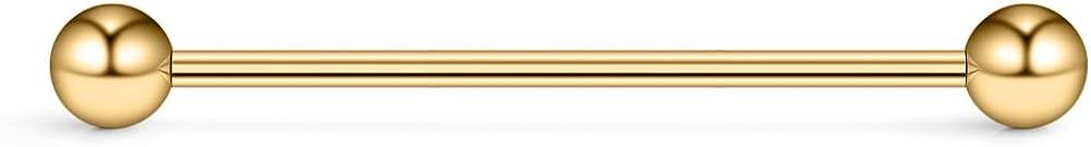 Ruifan 14 Gauge Short Industrial Barbell Cartilage Earring Body Piercing Jewelry 1 1/4 Inch(32mm)