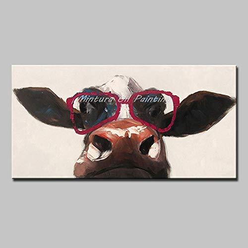 Handbeschilderd olieverfschilderij met grappige dieren, schattige koeien, rode jurken, grote moderne bril, handbeschilderd, artistiek schilderij voor kantoor hotel S 70×140cm