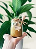 Beeswax Jar Candle / 100% Pure Beeswax in Glass Container / 30 Hours / Light Honey Aroma / 7 oz