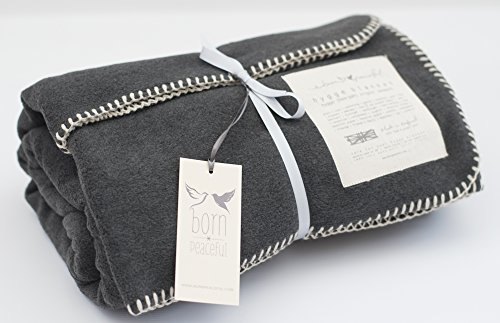 Born Peaceful Cosy Hygge Blanket Charcoal Grey | Yoga Meditation Relaxation