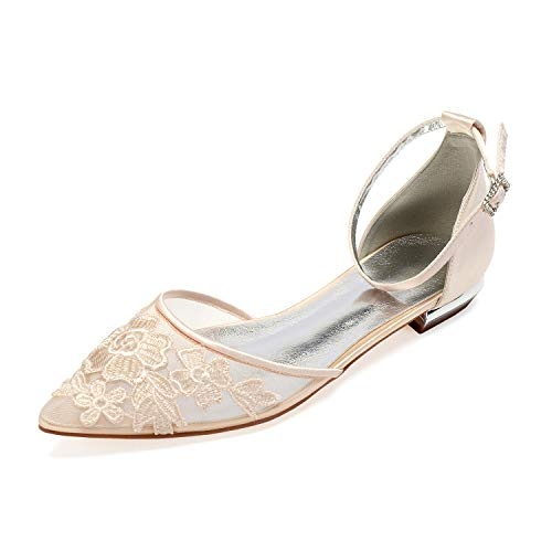 L@YC Zapatos De Tacón Bajo Con Cordones Cuadrados Clásicos Para Mujer,Beige,39