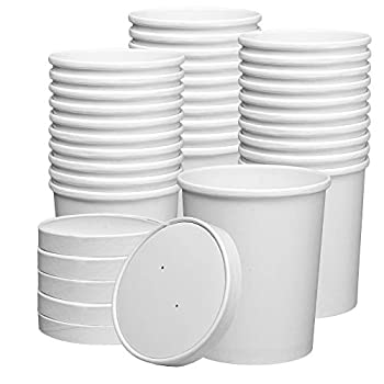32 oz Paper Food Containers With Vented Lids To Go Hot Soup Bowls Disposable Ice Cream Cups White - 25 Sets