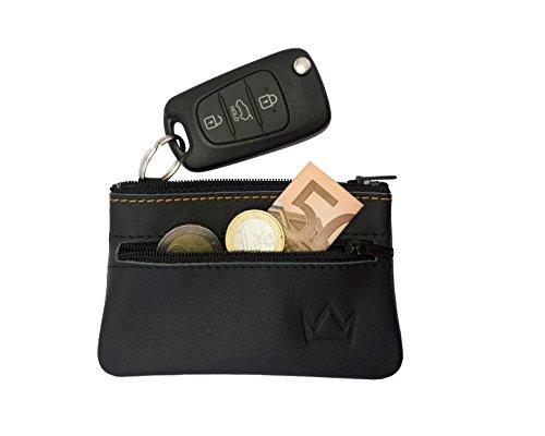 Lederprinz® | Schlüsseletui schwarz 2 Fächer | echt Leder Schlüsseltasche Damen und Herren | Hergestellt in Deutschland | 3 Jahre erweiterte Garantie | Schlüsselmäppchen für Autoschlüssel | Handarbeit