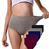 ANNYISON Women Panties 5 Pack, Soft Cotton Tummy Control Mid Waist Breathable Solid Color Briefs Panties for Women (5 Pack in 5 Drak Colors, M)