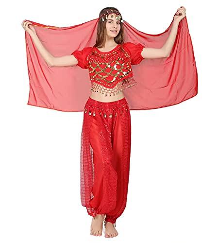 3Pcs Mujeres Danza del Vientre, Ropa India Lentejuelas para Disfraz de Princesa, Conjunto de Bailando Top Pantalones de Linterna y Cadena de la Cabeza Barbijo (Rojo)