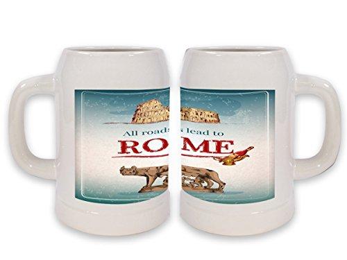 Boccale Birra Retro Arte Metropole Roma Stampato