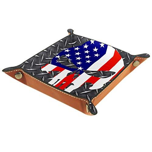 Leder Valet Tray, Würfel Tray Folding Square Holder, Kommode Organizer Platte für Wechsel Münzschlüssel Coole amerikanische Flagge Schädel