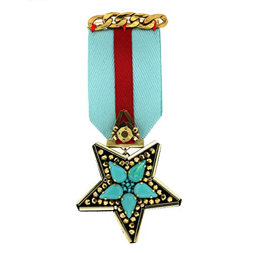 Sweet Deluxe Brosche Rubina Star, rot/Gold/türkis I ausgefallene Blusenbrosche für Damen & Mädchen I Frauen-Brosche für Abendkleid & Bluse I Anstecknadel
