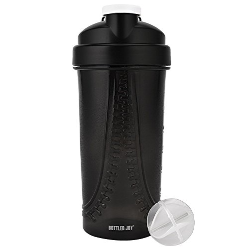 BOTTLED JOY Protein Shaker Bottle,Sports Water Bottle, Shaker Cups For Gym Drinking Bottle Mixer,Shake Water Bottles personal blender mini,Outdoor Sports For Travel Bicycle Cycling,Camping, Drinking Bottles For Gym, gifts sports bottles water container fruit,fruit sports bottle for women 28oz 800ml (Black)