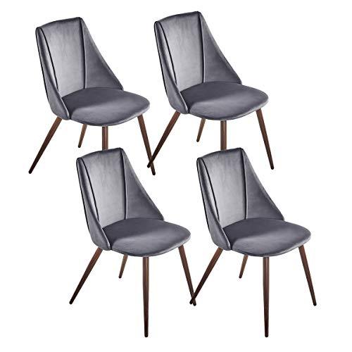 DORAFAIR Pack de 4 Sillas de Comedor Escandinavas con Soft Velvet Cushion Asiento y Respaldo para sillas de Comedor y Sala de Estar - Gris