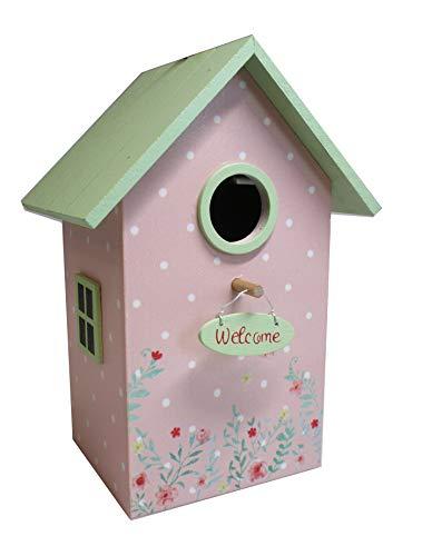 Home Collection Vogelhaus Welcome Nistkasten H22cm bunt mit grünem Dach und Streublümchen Motiv