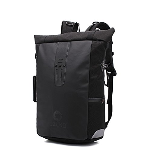 YFbear Roll-Top Rucksack –Laptoptasche oder Fahrradtasche für Damen und Herren Hochwertiger Wasserfester Backpack mit Rollverschluss – Praktischer Daypack,Uni-Schulrucksack, (Schwarz)