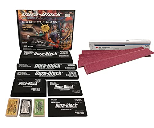 Dura-block 6 pc Assorted Sanding Block Set AF44A Bundled With 3M 01679 PSA Red Abrasive P80 25 Sheets