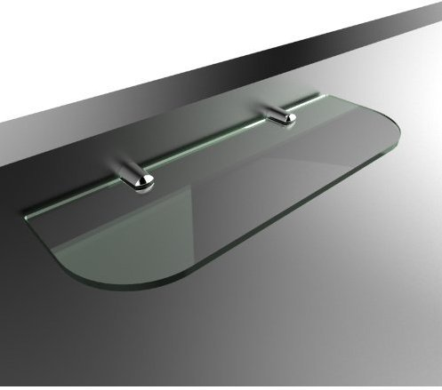 Estante de vidrio templado con bordes curvados y soportes de repisa cromados. 300mm x 100mm y 6mm de espesor