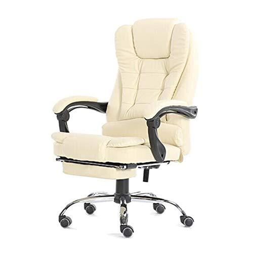 Stoelen CJC draaistoel leer Executive Computerschrijftafel in hoogte verstelbaar ergonomisch ligbed met lendenkussen bekleed voetensteun