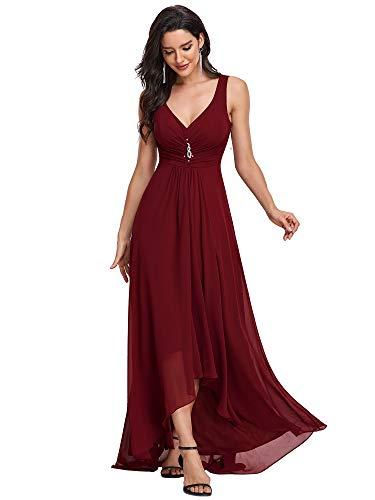 Ever-Pretty Scollo V Abito da Sera Donna Lunga High-Low Chiffon Impero Vestito da Cerimonia Borgogna...