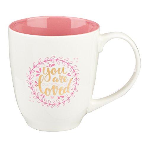 Bible Verse Mug for Women   You Are Loved Scripture Mug w/Pink Wreath – 1 John 4:19 Mug   Inspirational Coffee Cup & Christian Gift (14 oz Ceramic Cup)