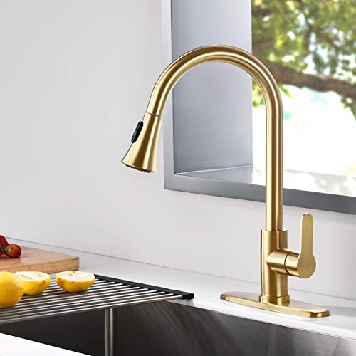 Picture of Stainless Steel Kitchen Sink With Gold Faucet