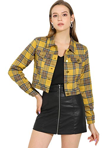 Allegra K Women Cropped Plaid Jacket Classic Vintage Button Front Closure Chest Pocket Crop Jackets Top Small Yellow
