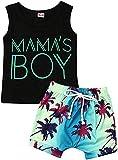 2Pcs Baby Boys Summer Clothing Sets Cute Letters Print Sleeveless Tank Tops T-Shirt+Palm Shorts Outfits (Black-Blue, 18-24M)