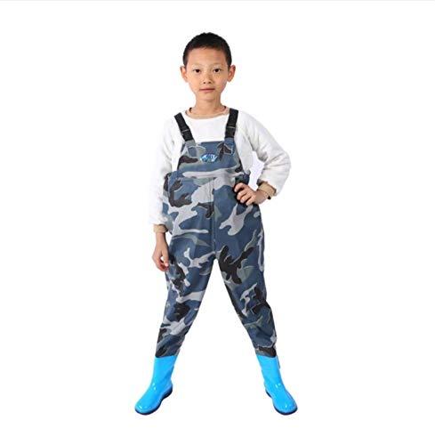 DIVAND Outdoor Wathose für Kinder, wasserdichte Jugend Waders mit Verstellbarer Schultergurt, Leichte, Strapazierfähige PVC Kinder Anglerhose mit Stiefel Zum Angeln und Jagen,Blau,32