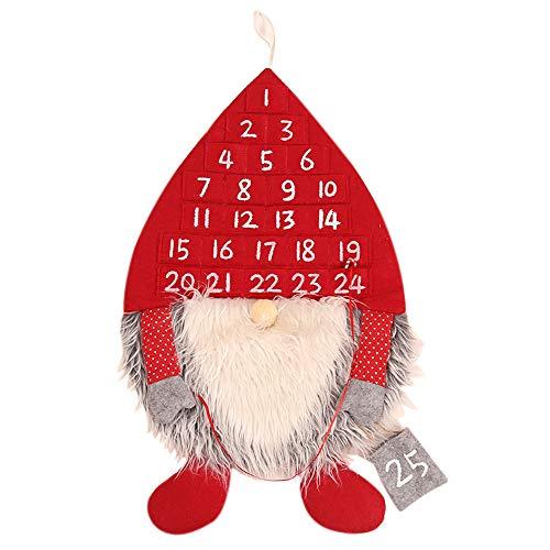 QHGao Calendario De Adviento De Navidad, Forma De Hombre del Bosque con 24 Bolsillos Numerados, Adornos Creativos para Colgar En La Pared, Decoración Interior del Árbol De Navidad, Reutilizables,Rojo
