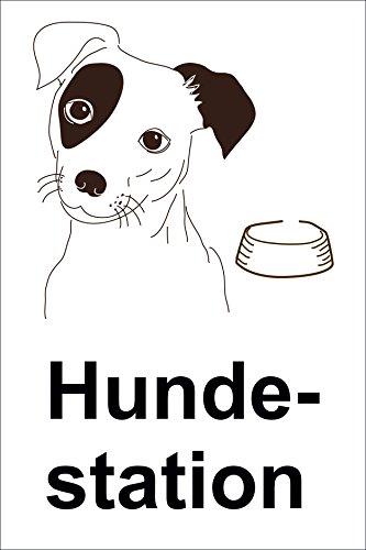 Schild Hundestation – 15x20cm, 30x20cm und 45x30cm – Bohrlöcher Aufkleber Hartschaum Aluverbund -S00179