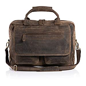 KomalC 16 Inch Retro Buffalo Hunter Vintage Leather Laptop Messenger Bag Office Briefcase College Bag PRIME SALE