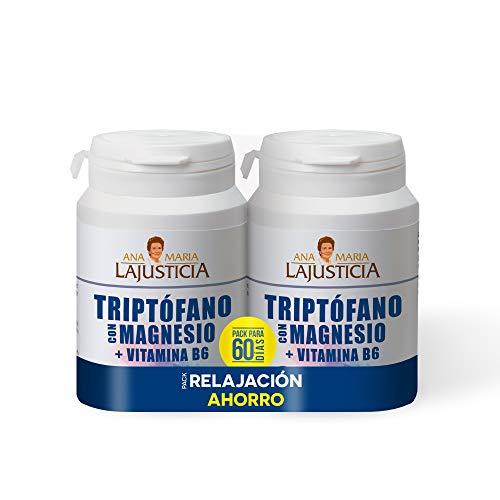Ana Maria Lajusticia – PACK Triptófano con magnesio + VIT B6, reduce la ansiedad, el cansancio y regula el reloj interno, apto para veganos, envase para 60 días de tratamiento, 120 comprimidos
