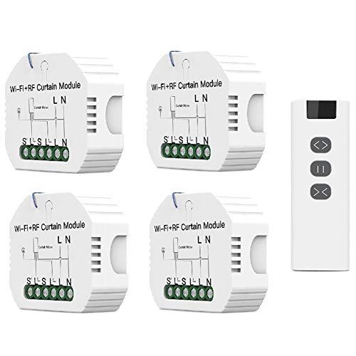 Baalaa WiFi RF433 cortina persiana interruptor Tuya con control remoto para persiana enrollable eléctrico protector solar hogar Alexa Home (4+1)